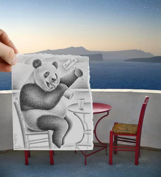 12张素描与相片的创意作品欣赏