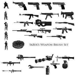 反恐精英CS冲锋枪手枪笔刷