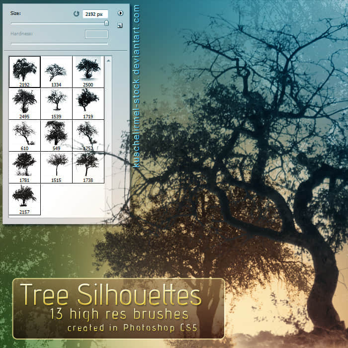 Photoshop CS5专用树木剪影笔刷