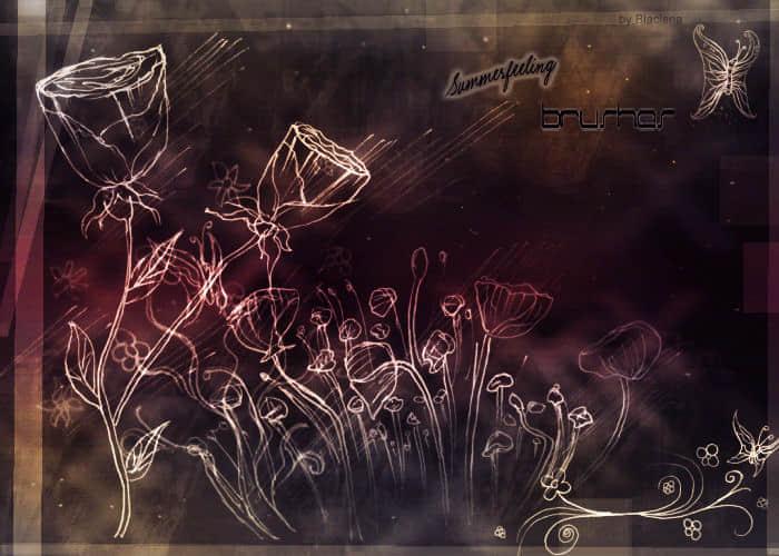 手绘花纹鲜花笔刷