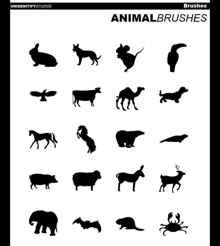 20种动物矢量笔刷下载