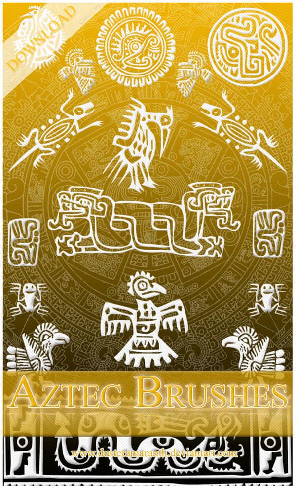 神秘玛雅文化符号笔刷
