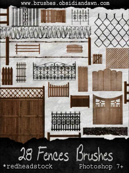 28种样式迥异的庭院围栏笔刷