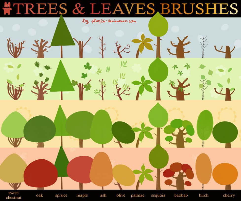 卡通矢量小树笔刷
