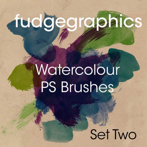 大型高分辨率水彩设置笔刷