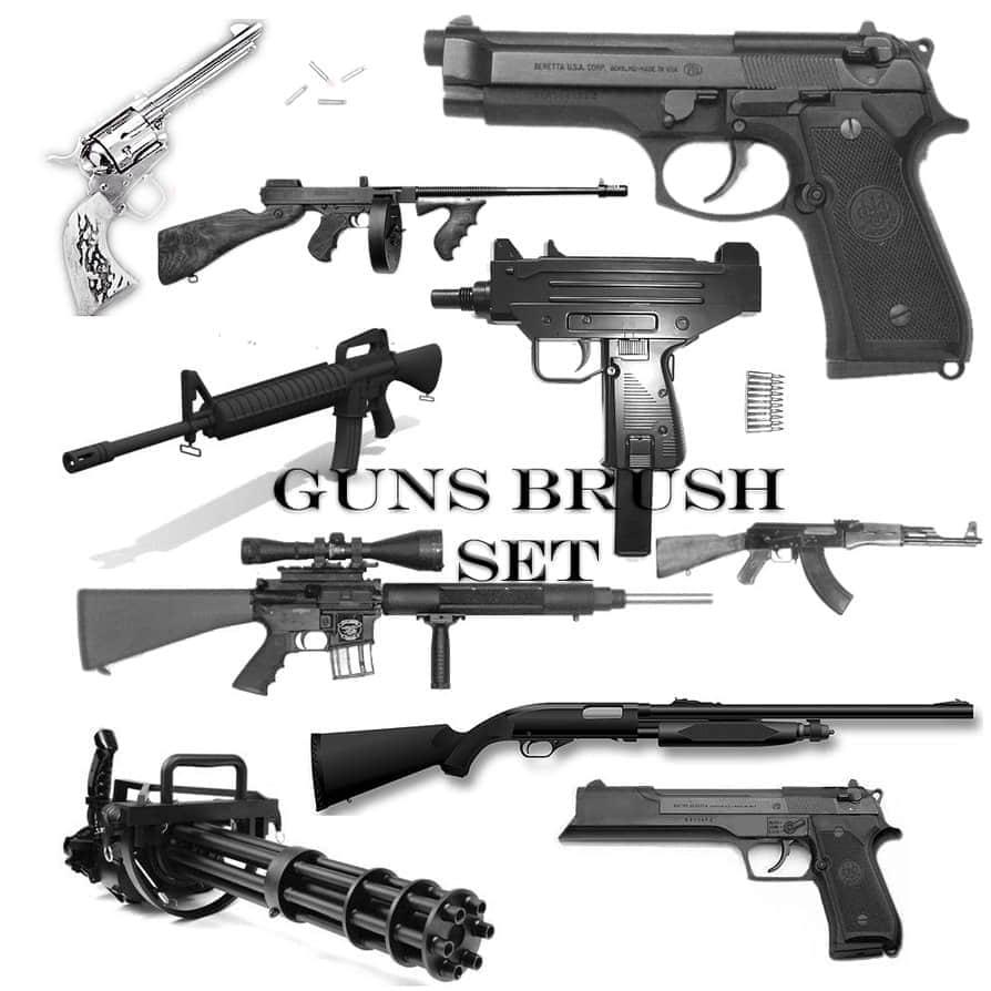 手枪机枪冲锋枪笔刷