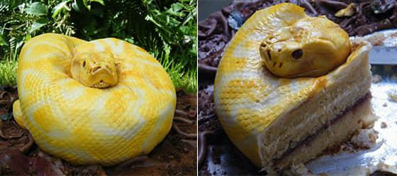一个恐怖令人恶心的蛇形蛋糕