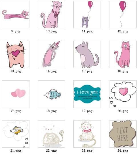一套卡哇伊猫系列照片装饰笔刷