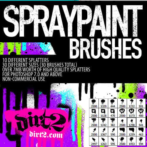 高分辨的喷溅油漆涂鸦笔刷免费下载