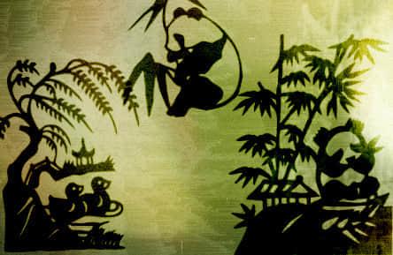 中国的熊猫剪纸剪影笔刷免费下载