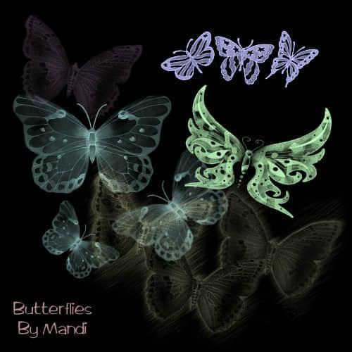 魔光幻影效果的蝴蝶笔刷