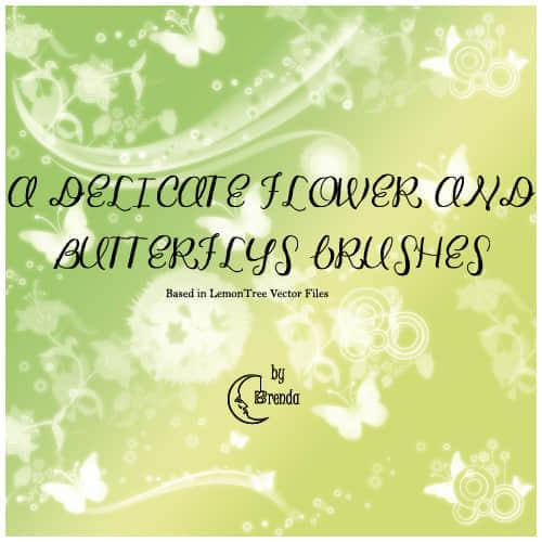 蝴蝶与鲜花装饰笔刷