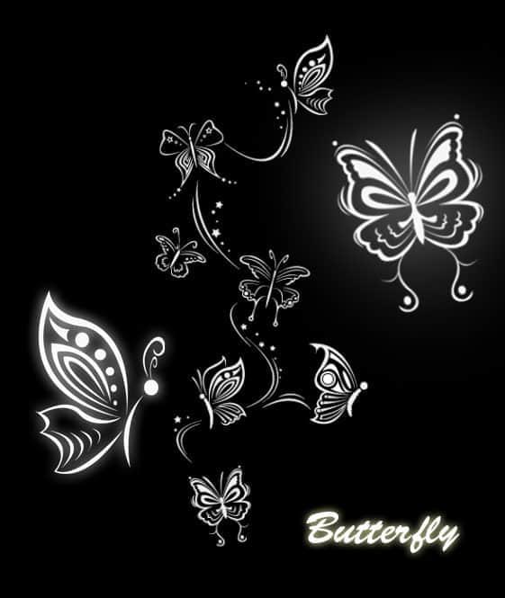 漂亮的花纹式蝴蝶笔刷