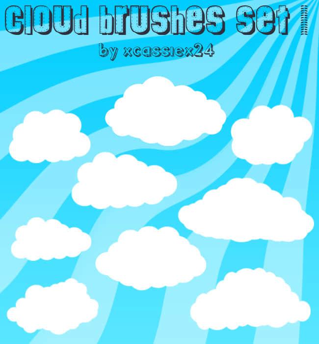 漂亮的矢量云朵笔刷下载