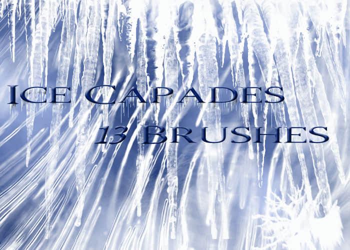冰凌锥冰柱笔刷 霜冻天气效果笔刷 结冰笔刷 冰柱笔刷  water brushes
