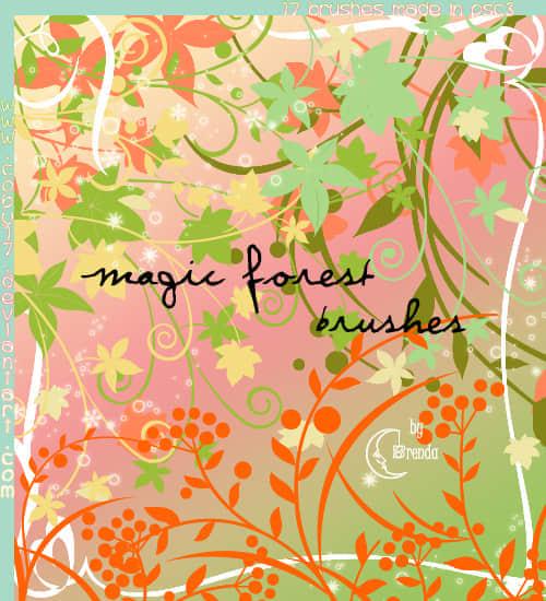 魔法植物森林花纹PS笔刷下载