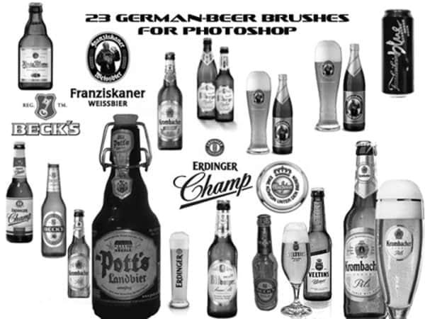 各式啤酒瓶与啤酒杯笔刷
