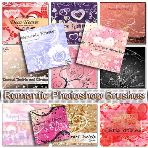 浪漫的爱情花纹背景笔刷打包下载
