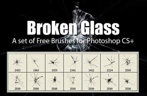玻璃被打碎的裂纹效果笔刷