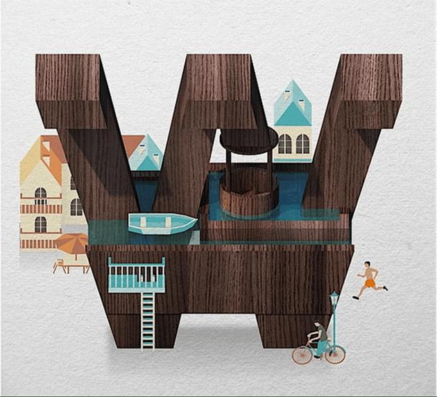 26个创意字母插画组合欣赏