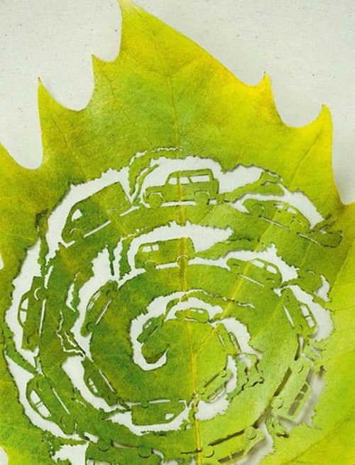20片精雕细琢的树叶艺术