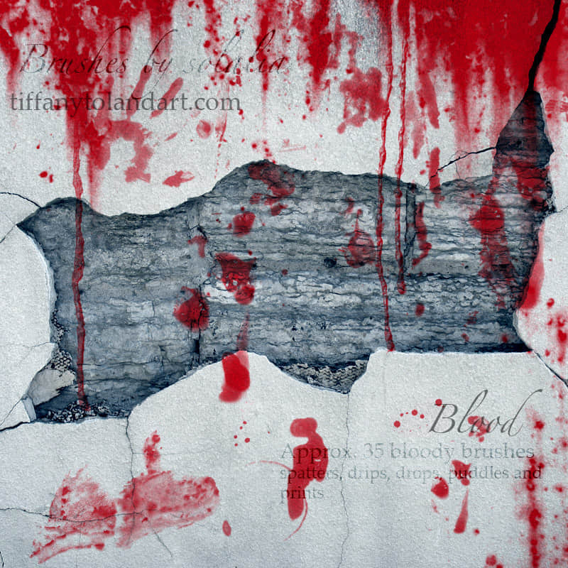 血液溅射在墙壁上效果笔刷