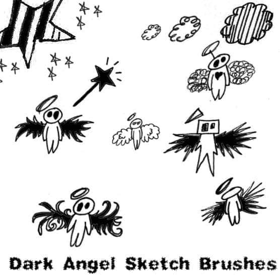 手绘卡通暗黑天使笔刷