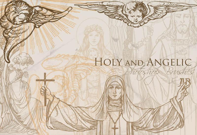 天使基督教图案笔刷