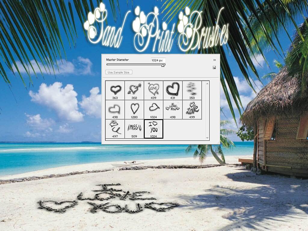 沙滩上爱心效果笔刷