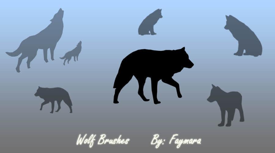 狼的剪影笔刷下载