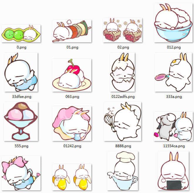42个可爱卡通流氓兔PNG笔刷下载