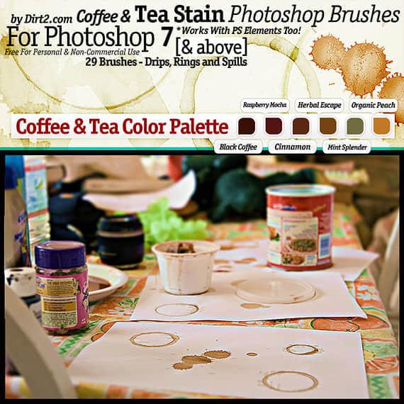 9款各种咖啡水迹污渍印记笔刷