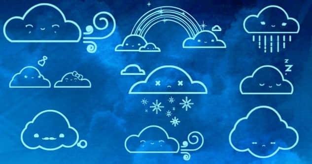 可爱的卡通式表情云朵笔刷