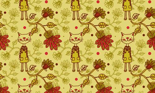 22-cat-flower-free-animal-reapet-seamless-pattern