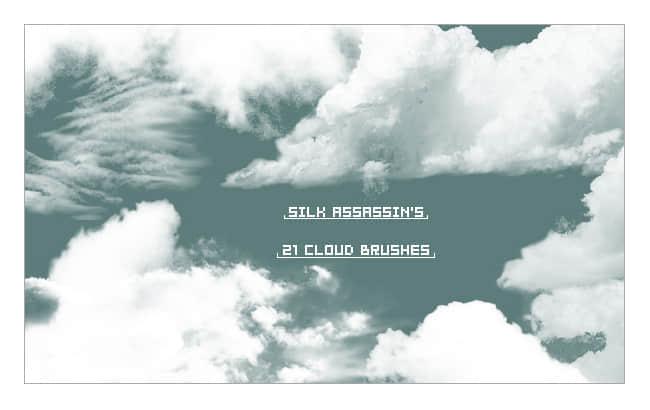 21个白云飘飘天空云朵笔刷