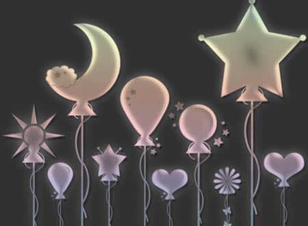 星星月亮气球笔刷