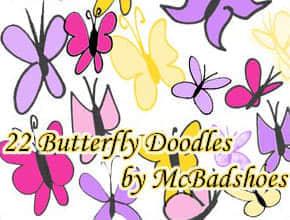 简单的卡通蝴蝶笔刷