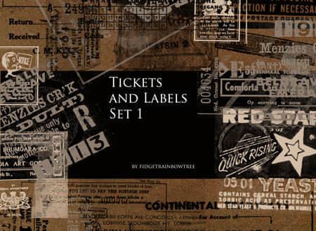 票据与文字标语笔刷