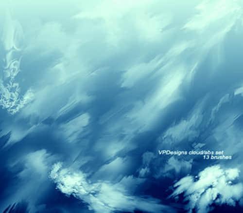 插画效果的云朵天空笔刷