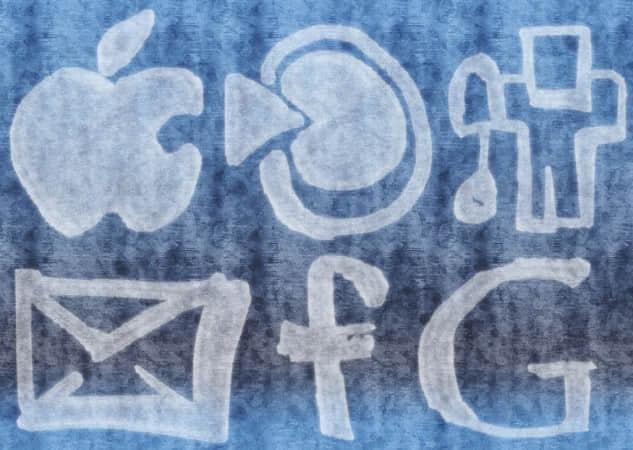 水彩化的社会分享图标笔刷