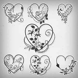 情人节爱情花纹笔刷