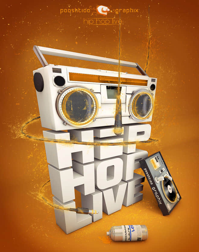 23-3d-typogrpahy-Hip-Hop-Live
