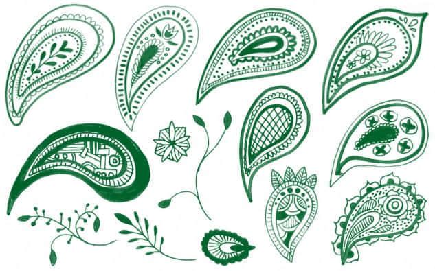 24个佩斯利涂鸦装饰笔刷