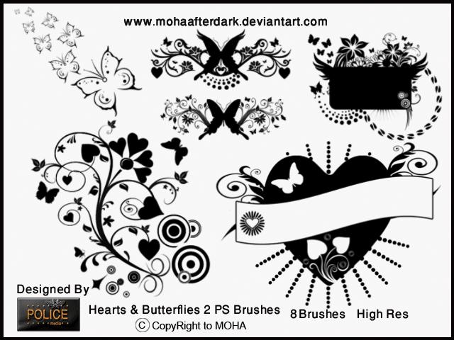 爱心与蝴蝶式花纹笔刷