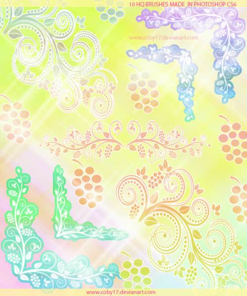 春天的漩涡花纹笔刷