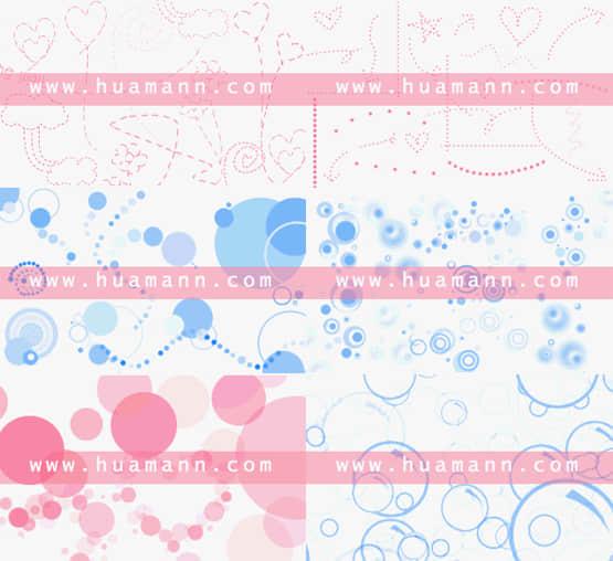 6套泡泡水珠笔刷打包批量下载