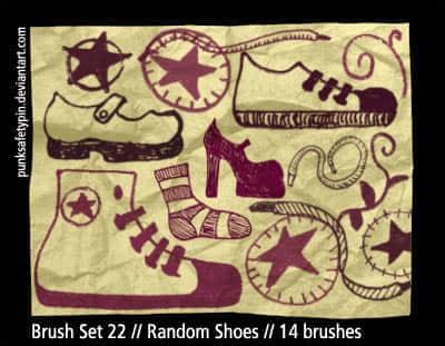 手绘涂鸦鞋子笔刷