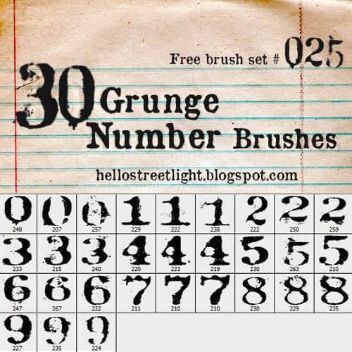 印刷式效果数字符号笔刷