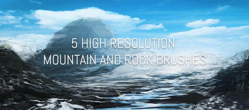 5种油画式山脉与岩石笔刷
