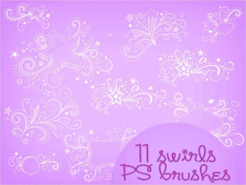 漂亮的漩涡五角星装饰笔刷